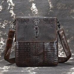 Мужской деловой портфель из натуральной кожи, винтажная сумка через плечо с крокодиловым узором, слинг-мессенджер на ремне