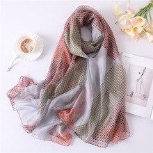 2019 New Women's Silk Scarf Soft Plaid Print Scarves Large Shawls and Wraps Long Ladies Pashmina Foulard Hijabs Bandana Scarves
