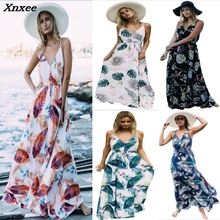 Summer women dress sexy sleeveless sling long elegant beach vestidos bohemian style Xnxee