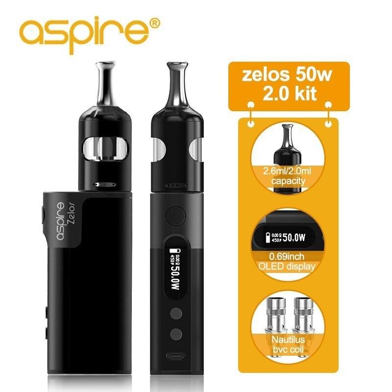 Cigarettes électroniques Aspire Zelos 50W 2.0 Kit MTL 2.6 ml/2 ml Nautilus 2S réservoir 0.4ohm/1.8ohm nautilus bvc bobines Vape Vaporizador