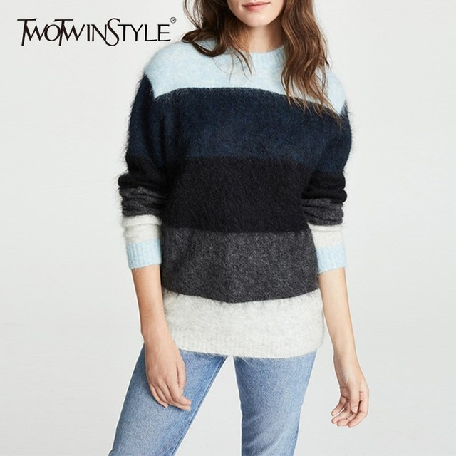 326dad09a9 TWOTWINSTYLE Striped Women s Sweater Long Sleeve Knitting Tops Pullover  Female Oversized Casual Fashion Jumpers 2018 Autumn New