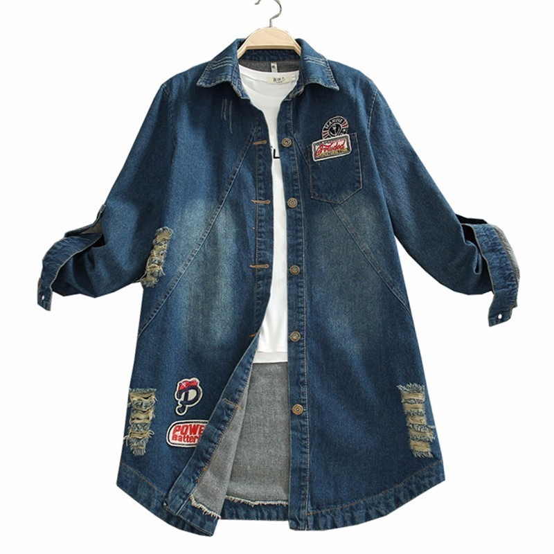 5XL Plus Size Women Loose Denim Coat Patch Hole Autumn Letter Print Windbreaker Fashion Tide Jean   Basic     Jacket   Outerwear PJ315
