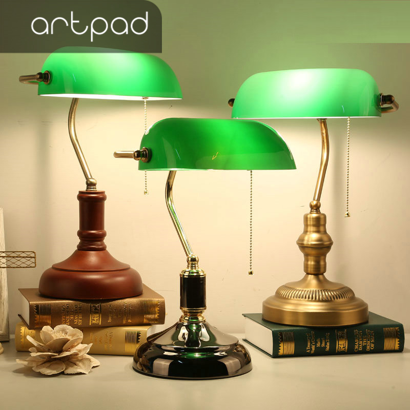 Artpad Retro Old Vintage Green Glass Lampshade Bank Table Lamp 3 Color Base Iron Desk Light