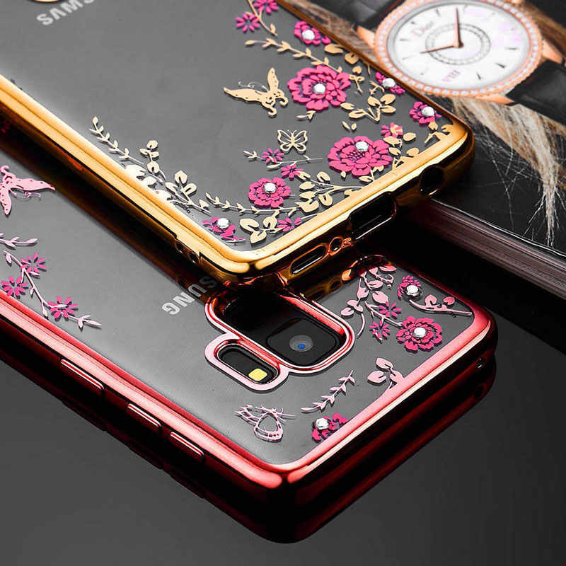 Glitter Diamond Cover TPU Flower Case for Samsung Galaxy S8 S9Plus J6 J4  Prime J3 J7 05db59916d8