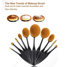 10Pcs Professional Oval Cream Makeup Brushes Set Kabuki Toothbrush Foundation HQ