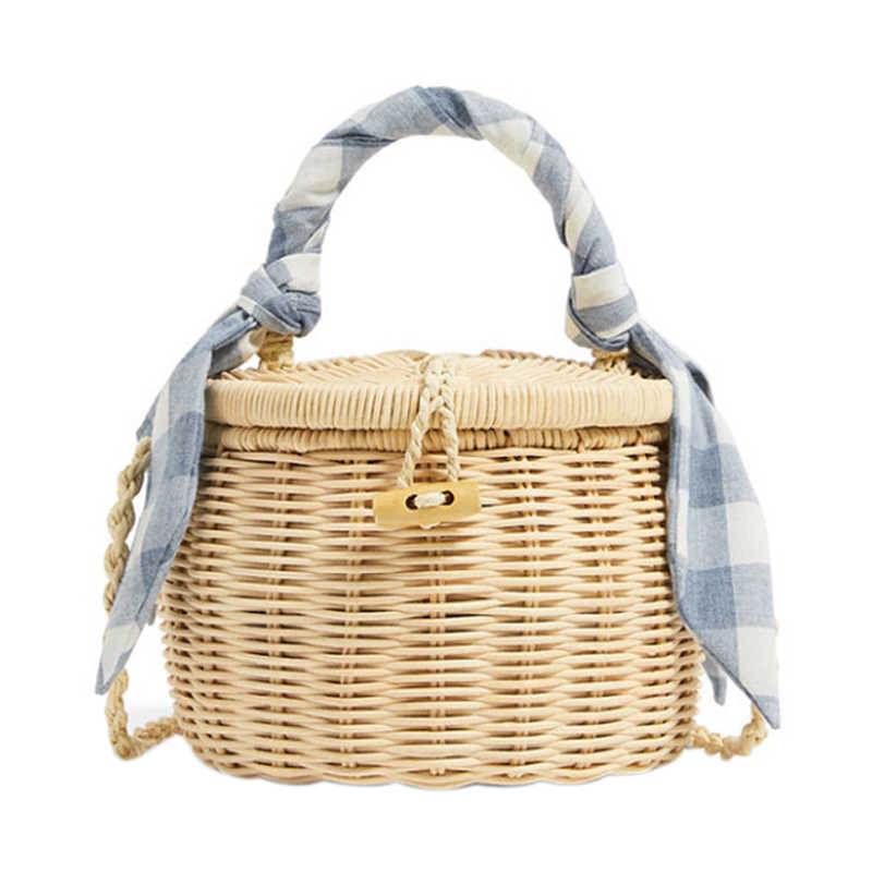 Women Bucket Handbag Scarves Straw Beach Tote Bag With Cover Wicker Mini Basket Shoulder Crossbody Bags