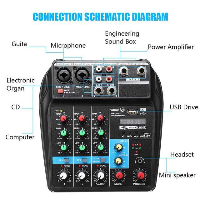 US $37 91 45% OFF|Portable A4 Sound Mixing Console Audio Mixer bluetooth  Record 48V Phantom Power Effects 4 Channels Audio Mixer with USB-in DJ