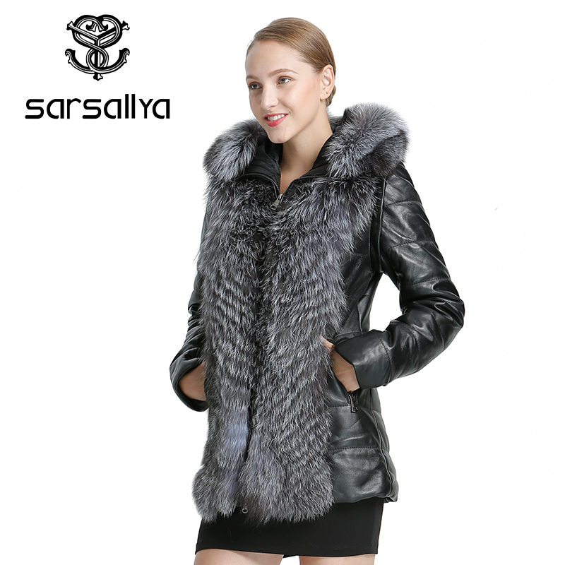 SARSALLYA 女性レザージャケットコート冬暖かいオーバーコート自然キツネの毛皮のコート着脱式ジャケットリアルファー女性のカジュアルな女性の C  グループ上の レディース衣服 からの 本物の毛皮 の中 3