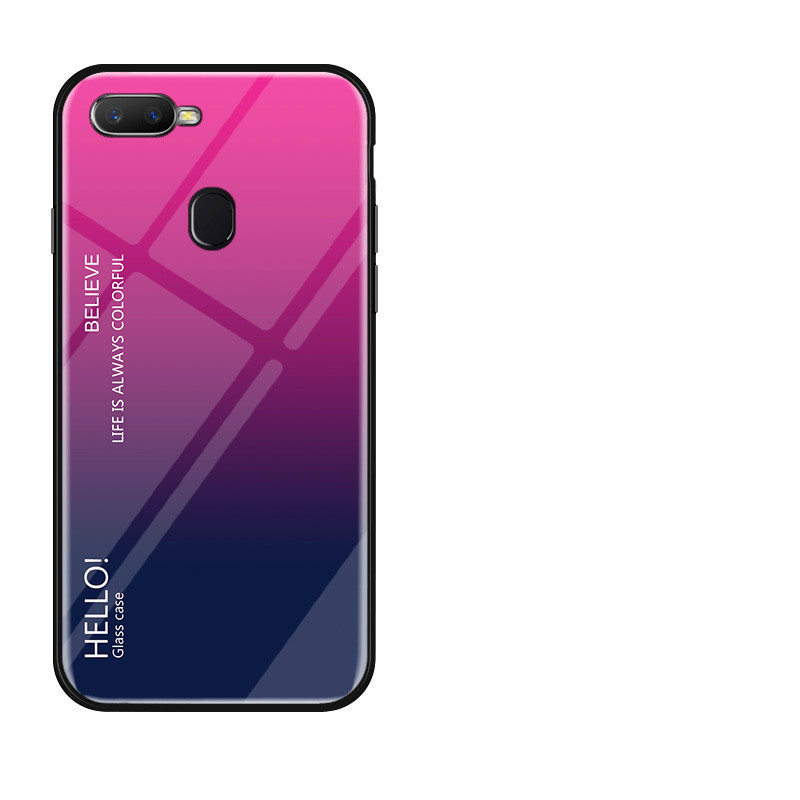 Gradient 9H Tempered Glass Case For OPPO F9 F7 R17 Case Soft TPU Edge Mirror Back Cover For OPPO F7 A7X Coques in Fitted Cases from Cellphones Telecommunications