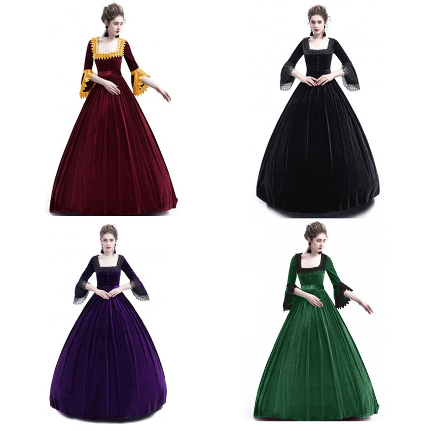 Cosplay Palace Princess Medieval Costume Renaissance Women Europe Gothic Ruffle Queen Bell Sleeve Female Vintage Long Gown Dress
