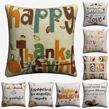 Happy Thanksgiving Day Quote Decorative Cotton Linen Cushion Cover Square Throw Pillow Cover Chair Sofa Seat Car Pillowcase Soft цены