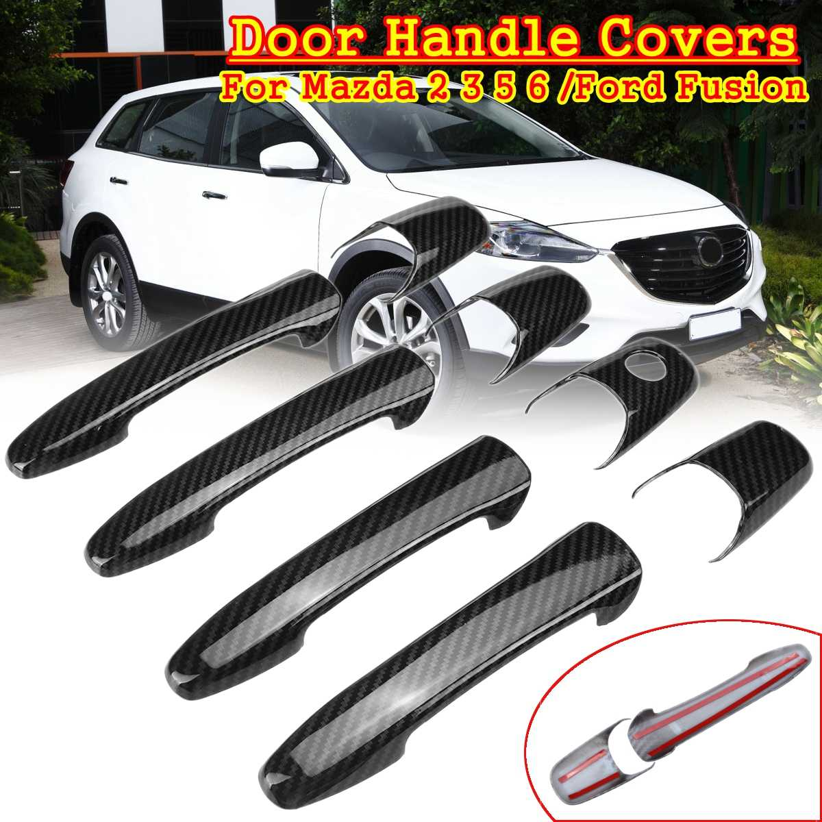 Door Handle Cover For Mazda 2 3 5 6 CX7 CX9 RX8 Ford Lincoln MKX MKZ Chrome Trim