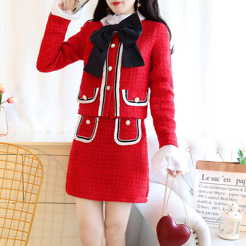 Winter 2018 New Design Women Sweet Bowknot Jacket Top Tweed Elegant Skirt Suit Lady Vestido Coat Outfits Twinset Princess S M L