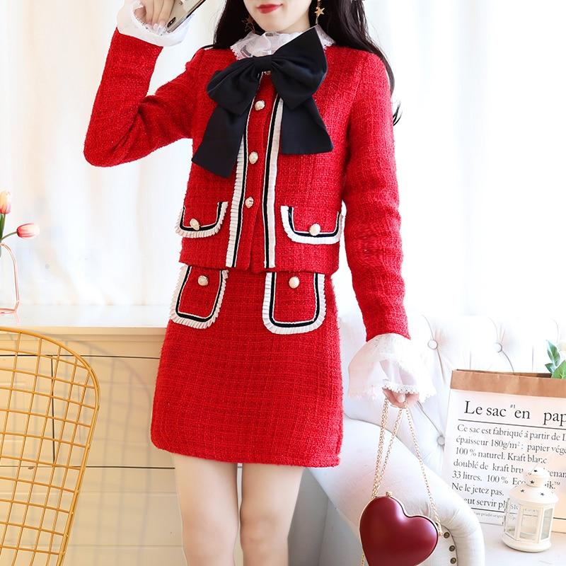 Winter 2018 New Design Women Sweet Bowknot Jacket Top Tweed Elegant Skirt Suit Lady Vestido Coat Outfits Twinset Princess S M L