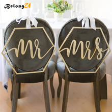 2pcs Mr Mrs Signs Wedding Decoration Rustic Vintage Party Wood Photo Booth for Shoot Props Photobooth Decor Sign