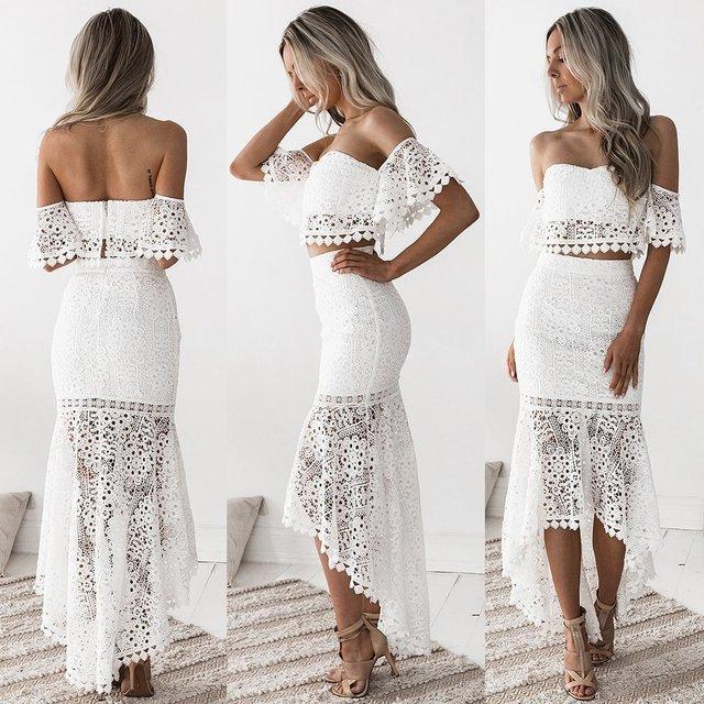 Women White Lace Dress 2 Pcs Set