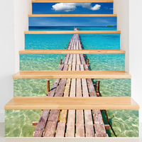Creative self adhesive staircase stickers renovation stairs DIY beach pier waterproof stairs stickers wall stickers