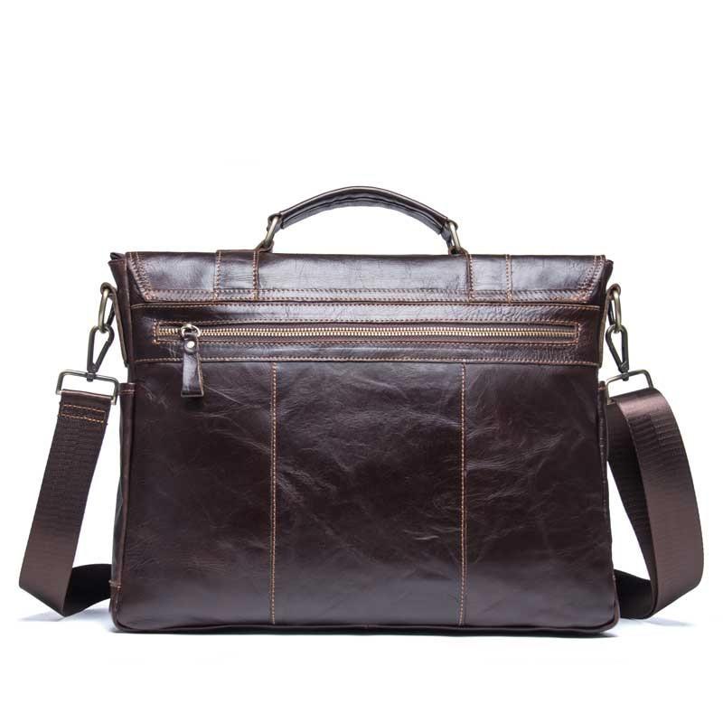 2019 affaires hommes en cuir véritable sac 14 ''ordinateur portable fourre-tout porte-documents pour hommes bandoulière sac à main homme Messenger sac mallca - 3