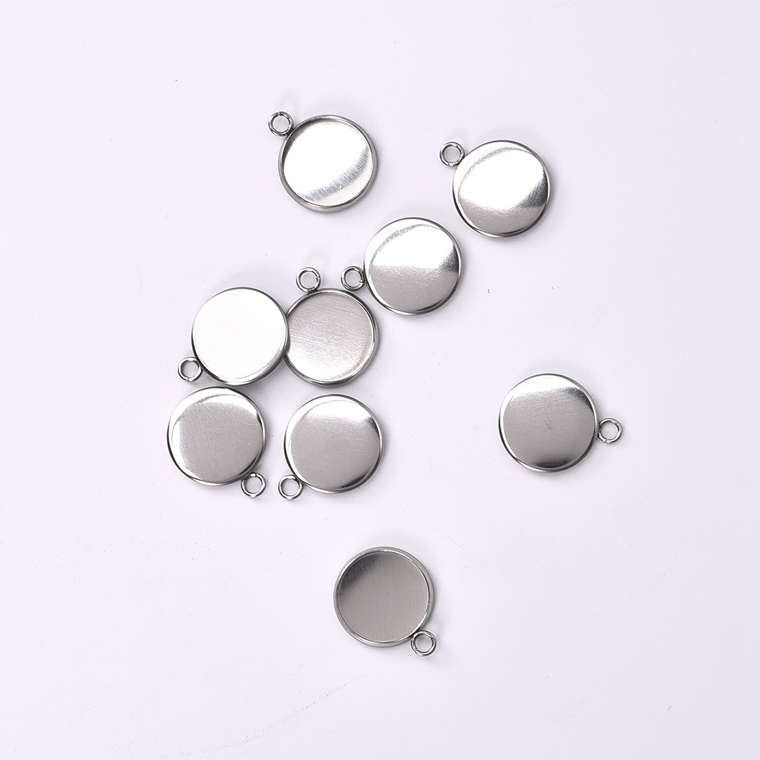 10Pcs/Pack Stainless Steel Round Pendant Base Setting Cabochon Glass Base Trays For DIY Necklace Jewelry Findings Sliver Color
