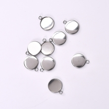 10Pcs/Pack Stainless Steel Round Pendant Base Setting Cabochon Glass Trays For DIY Necklace Jewelry Findings Sliver Color