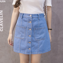 2018 Summer New Denim Skirt High Waist A-line Mini Skirts Women Single Buckle Pocket skirt Slim Femme Short