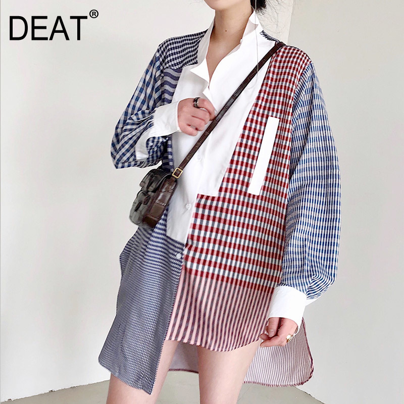 DEAT 2019 New Spring Summer Lapel Neck Long Sleeve Plaid Spliced Single Breated Hit Colors