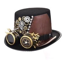 Черная фетровая шляпа в стиле панк в стиле стимпанк с шипами, кожаная Мужская/женская шляпа с Googles, готические вечерние шапки, аксессуары для фестиваля