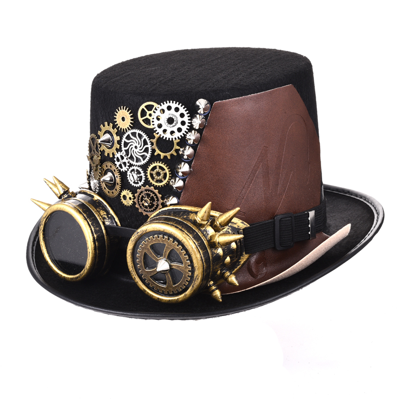 Punk Black Fedora Steampunk Gears Spikes Leather Men/Women Top Hat With Googles Gothic Party Festival Hats Accessories