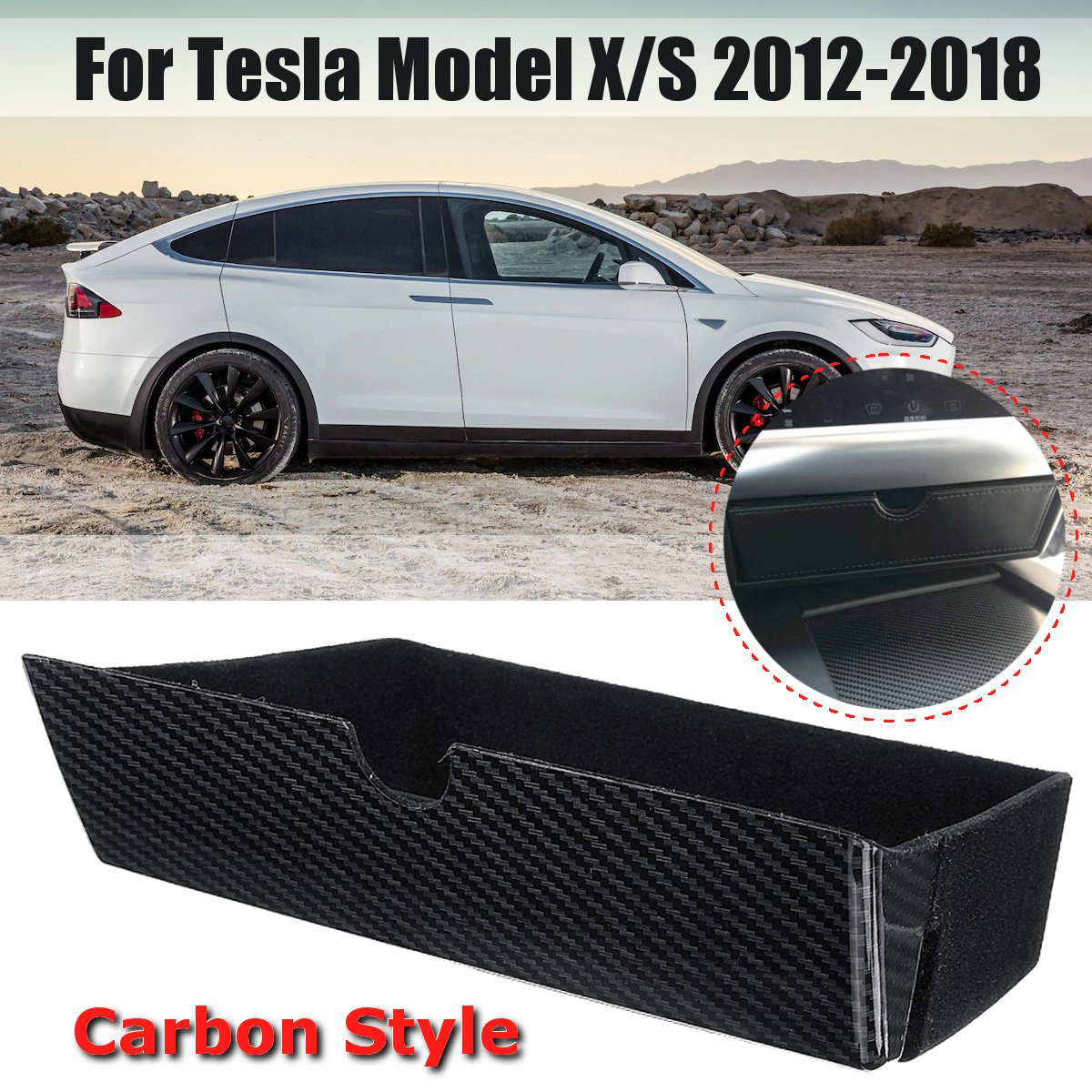 Carbon Style Wooden Style Center Console Storage Box Drawer Tray For Tesla Model For Tesla Model X Model S 2012  2018|Stowing Tidying| |  - title=