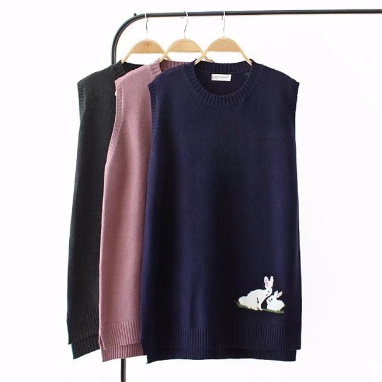 Spring Autumn Rabbit Big Size Sleeveless Sweater Women Pink/Blue/Black Knitted Vest Casual O Neck Pullovers Waistcoat
