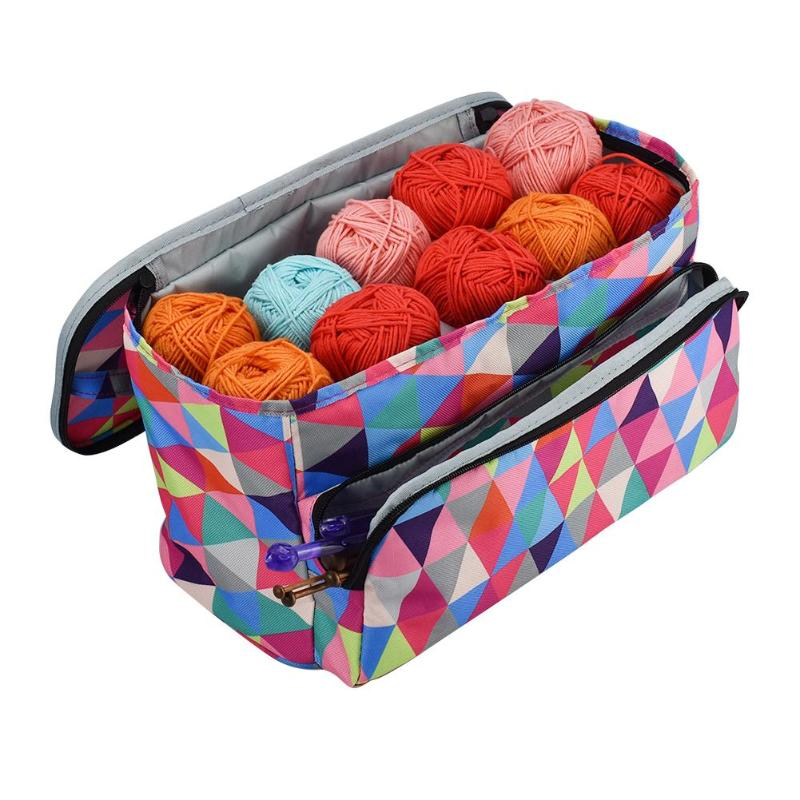 3pcs Portable Wool Storage Bag Yarn Crochet Hooks Traveling Knitting Organizer Bucket DIY Embroidery Sewing Accessories