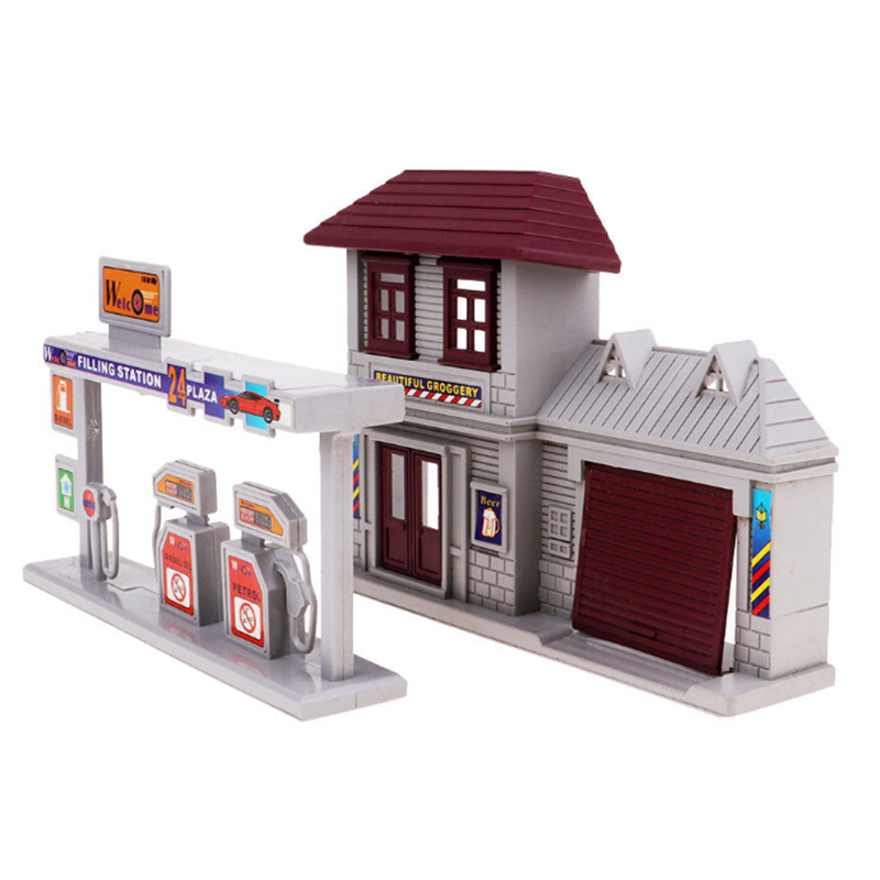 1:87 Gas Station Model Blocks Compatible City Building Blocks Plastic DIY Bricks Educational Toys For Children Gift