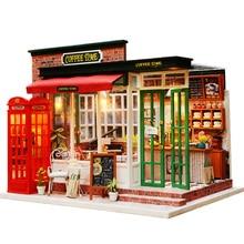 Деревянный Diy кукольный домик игрушка миниатюрная коробка головоломка кукольный домик Diy комплект для кукольного дома мебель Кофейня модель подарок игрушка для детей