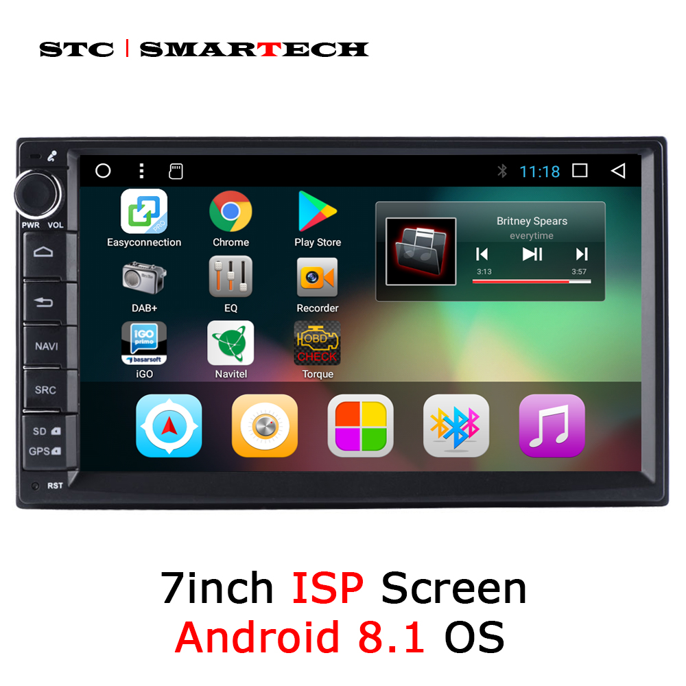 SMARTECH 2 Din Android 8.1 OS Car Radio GPS Navigation Autoradio Support 3G WIFI OBD Bluetooth DAB DVR TPMS Rear-view Camera