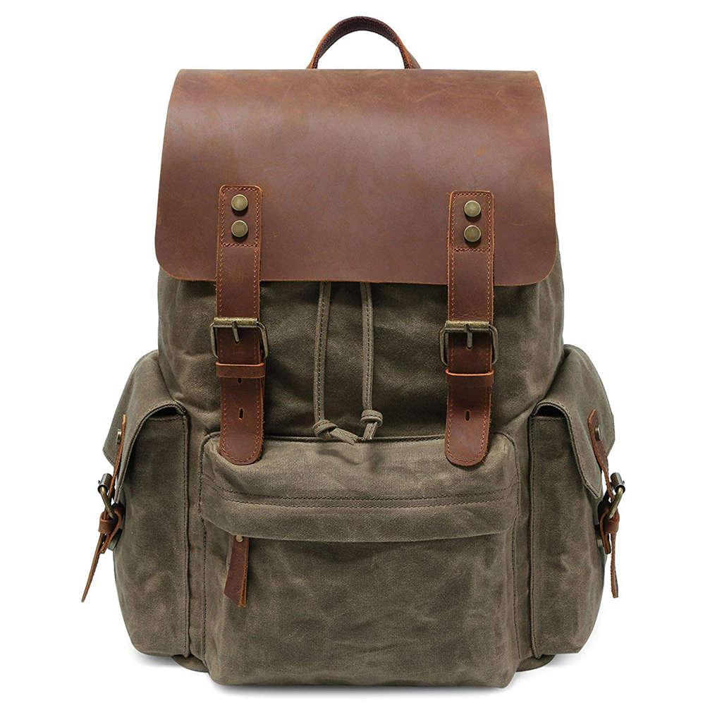 LJL-Large Canvas Backpack School Bag Outdoor Travel Rucksack,Vintage Briefcase Satchel Shoulder BagLJL-Large Canvas Backpack School Bag Outdoor Travel Rucksack,Vintage Briefcase Satchel Shoulder Bag