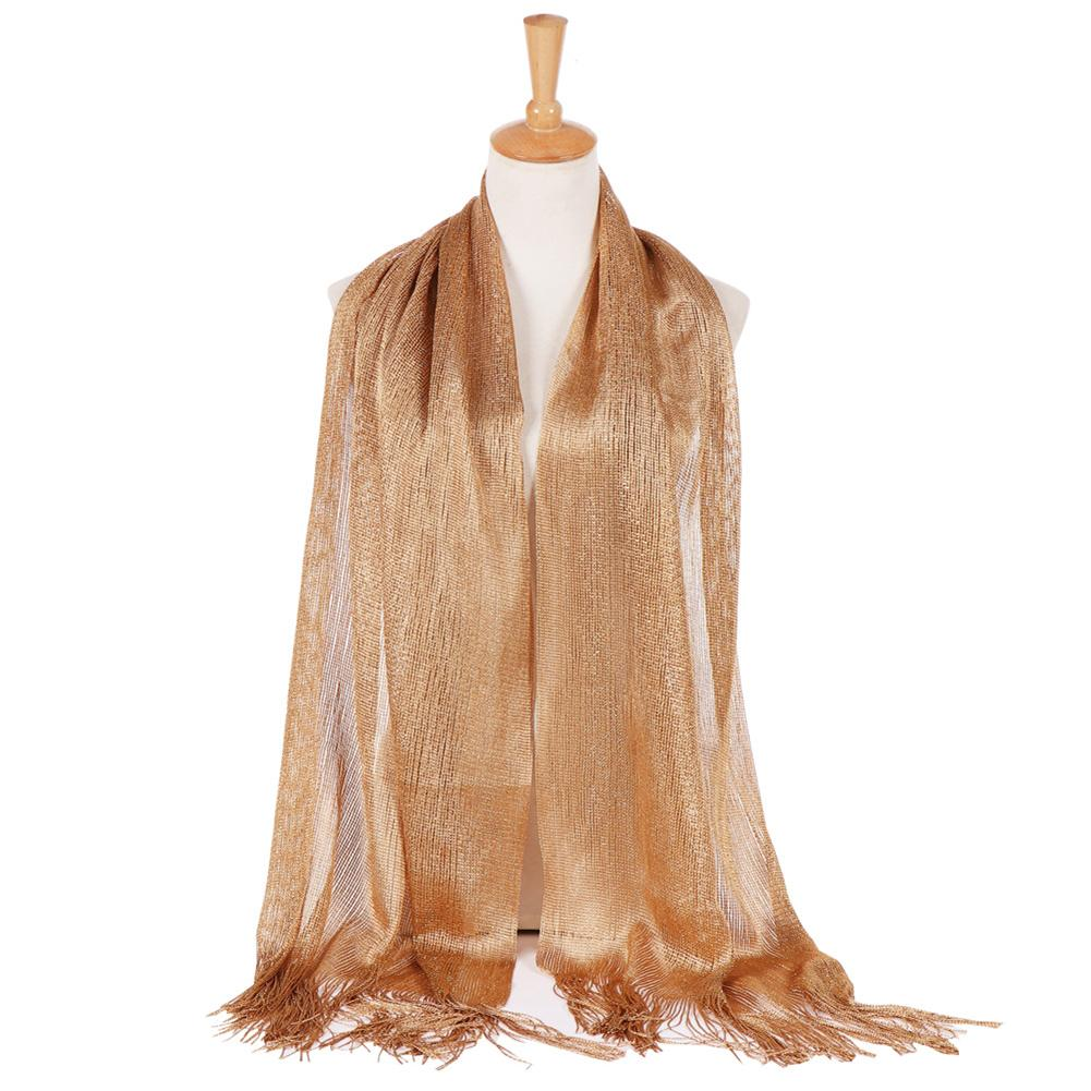 Fashion Women Shawl Glossy Solid Color Tassels Soft Banquet Evening Party Scarf