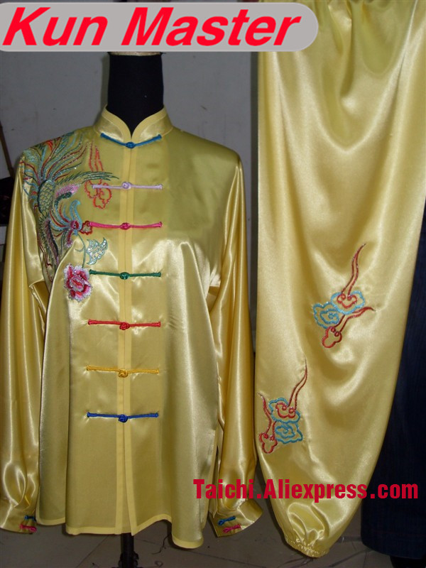 Custom Tai Chi Performance Uniform Colored Phoenix Embroidery  Martial Art Clothing For Kung Fu Yellow Color