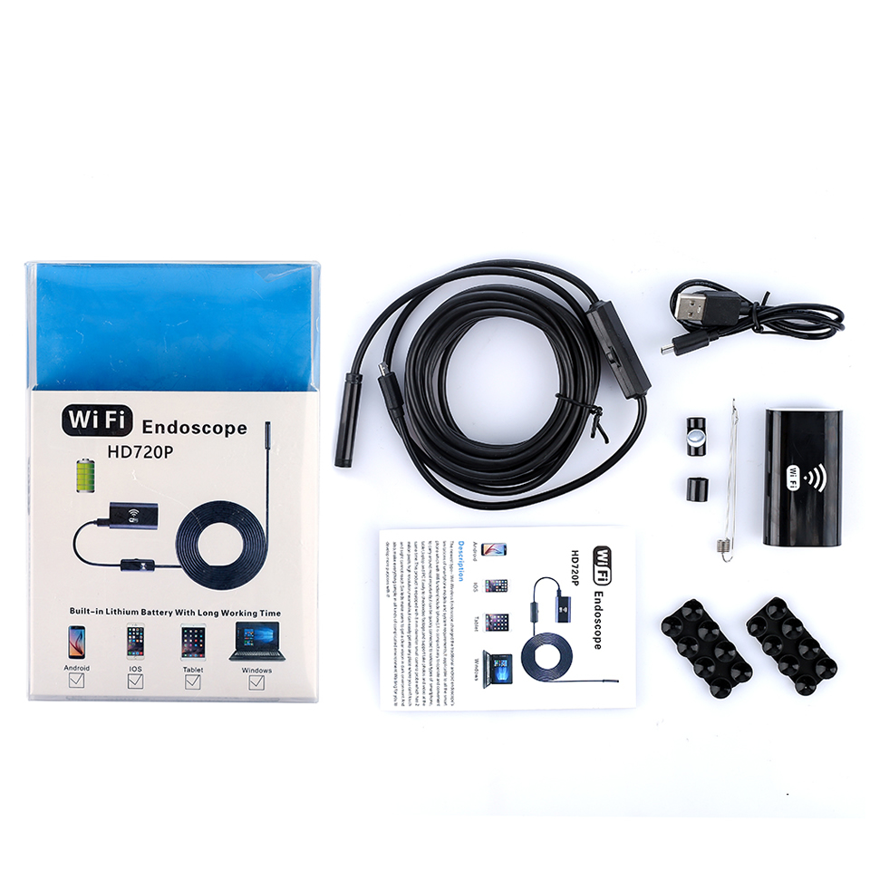 Image 5 - Wsdcam WIFI Endoscope Camera Mini Waterproof Soft Cable Inspection Camera 8mm 1M USB Endoscope Borescope Endoscope For iphones-in Surveillance Cameras from Security & Protection