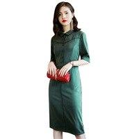 Натуральный шелк спандекс платье миди отложной воротник половина рукава размер L XL XXL XXXL