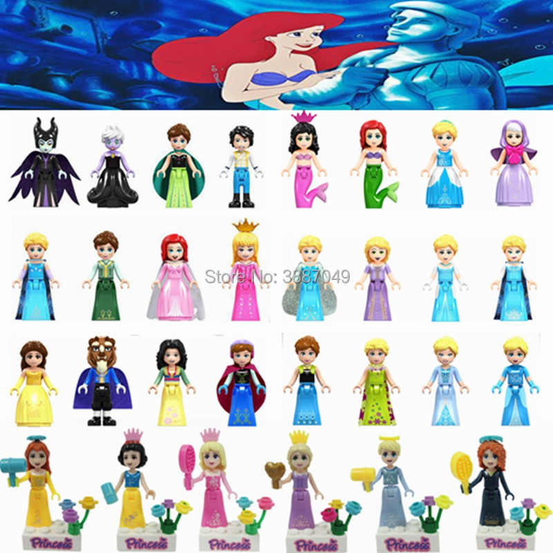 Legoings Friends Princess Girls Figures Mermaid Anna Elsa Cinderella Model Building Kits Toys For Children Compatible legoings