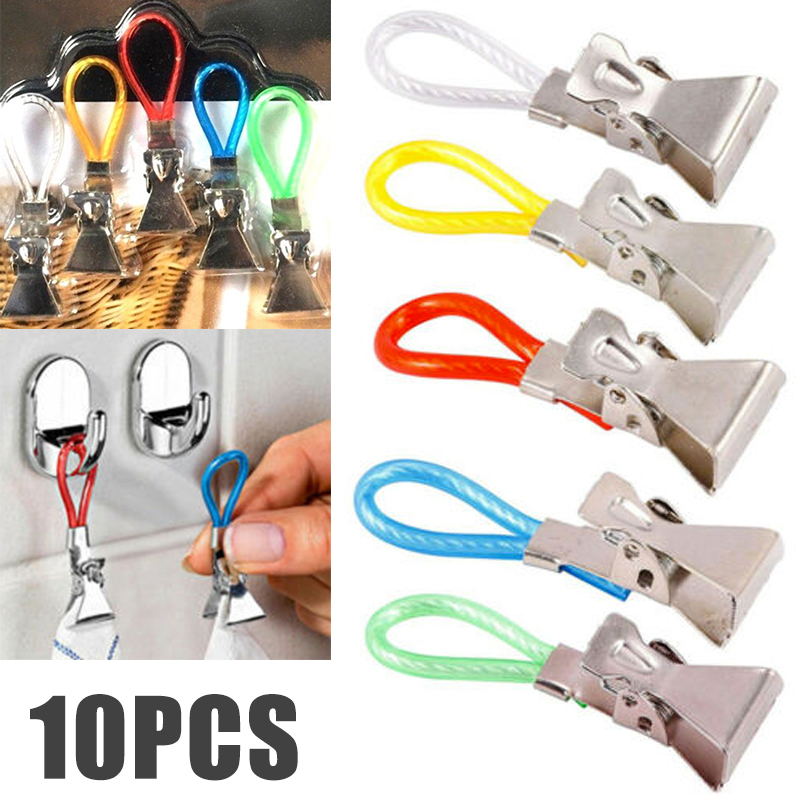 New 10pcs Towel Hanging Clips Multi Beach Tea Towel Clips Clamp Useful Household Hooks Set