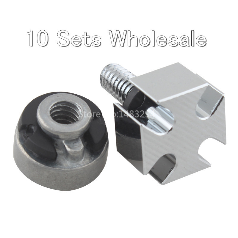 10 SETS  WHOLESALE Chrome Billet Aluminum Nut Kit Cross Seat Bolt Kits Seat Nuts Fit For Harley All Models Hot