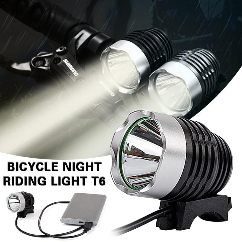 High Quality Cycling Bicycle Light Mountain Bike Light T6 Night Riding Equipment USB Charging Head Strong Light