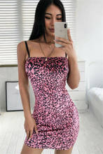 2019 Women Pink Spaghetti Strap Sling Slim Hot Fashion Sexy Leopard Printed Sling Evening Party Club Wear Bodycon Mini Dress(China)