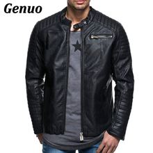 Genuo Mens Leather Jackets Fall Winter Coat Men PU Biker Motorcycle Classic Jacket Top Quality Plus Size M-4XL