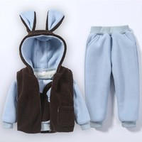 2 3 4 5 6 Y Winter Suits For Boys Girls Cute Bunny Ears Hooded Vest Plus Velvet Sweatshirt Pants 3pcs Warm Kids Clothing Sets