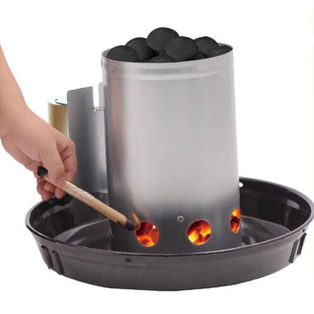 Barbecue Bbq Chimney Starter Charcoal Grill Steel Rapid Quick Fire Lighter