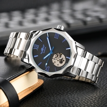 WINNER Automatic Mechanical Watches Top Luxury Brand Self Winding Skeleton Man Full Stainless Steel Wrist Watch Male Clock Hours winner men mechanical wrist watch stainless steel strap skeleton roman number automatic self wind golden top brand luxury watch