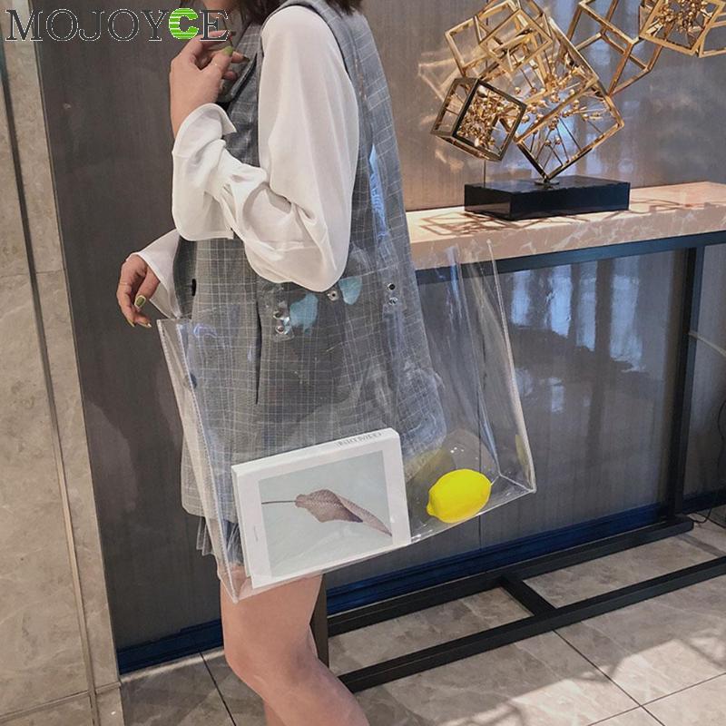 Casual Totes Women PVC Handbags Transparent Beach Bags Summer Shopping Bags Ladies Shoulder Bag Open Handbag