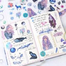 6 листов/упаковка Kawaii канцелярские наклейки милый КИТ наклейки прекрасные бумажные наклейки для детей сделай сам Дневник в стиле Скрапбукинг фото Ablums